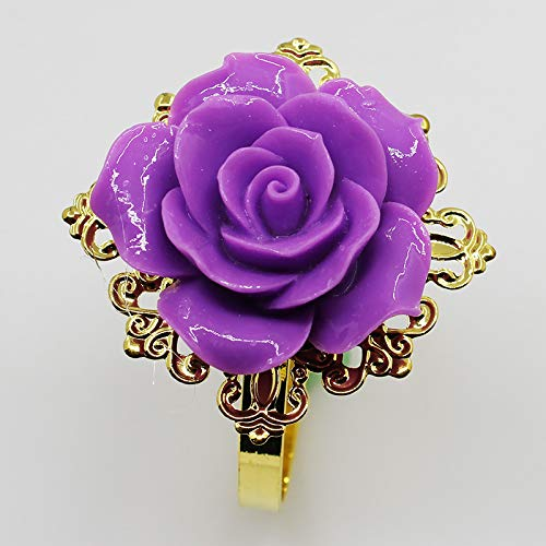 Leader of Sales 10pcs / Lot Resin Purple Roses Napkin Rings Gold Napkin Rings for Romantic Wedding Party Table Decoration