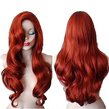 Duofan 28  Jessica Rabbit Long Wavy Copper Red Cosplay Wig Spiral Curly Anime Heat Resistant Hair for Women