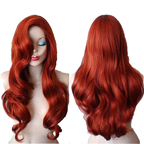 Duofan 28' Jessica Rabbit Long Wavy Copper Red Cosplay Wig Spiral Curly Anime Heat Resistant Hair for Women