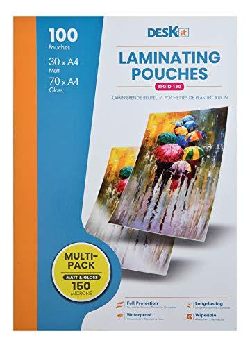 Bolsas de laminado Deskit A4, Multipack de 100 láminas: x 70 Brillantes y x30 Mate, 150 Micras: Una gran variedad de acabados para modificar varios proyectos