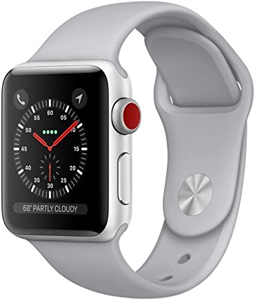 Apple Watch Series 3 38mm Smartwatch (GPS + Cellular, Silver Aluminum Case, Fog