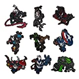 Officially Licensed Marvel: 9 Different Male Venomized Characters / Heroes Limited Edition Metal-Based and Enamel Lapel Pin Set. ( Amazon Exclusive ).