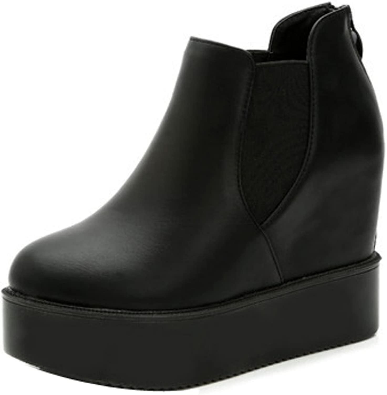 Ladola Womens Wedges Light-Weight Closed-Toe Urethane Boots