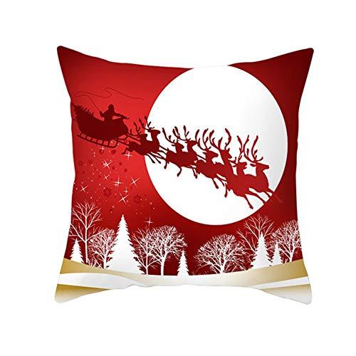 LOYYE Fundas de Cojín Decorativos Ciervo Rojo de Navidad Cuadradas Terciopelo Suave Funda de Almohada Cubierta para Cojines Sofá Sala de Estar Cama Decor Throw Pillow Case Pillowcase,60x60cm T2877