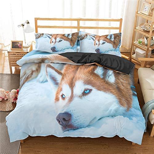Juegos de cama, juego de cama para perros 3D Funda nórdica Juego de ropa de cama para perros encantadores Textiles para el hogar Funda de edredón Colchas de impresión y teñido Funda nórdica y juego de