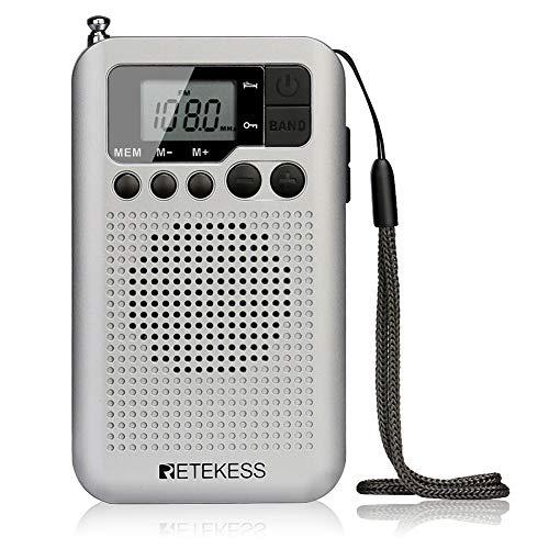 Retekess TR106 Mini Radio Portatile, Walkman Radio FM AM,con Timer di Spegnimento,Avvio Temporizzato,Pulsante di Blocco,Piccola Radio Altoparlante Incorporato, 3.5mm Jack Per Cuffie