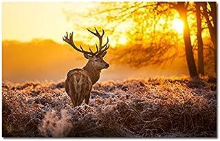 N / A Foresta Stampata Pittura su Tela Soggiorno Decorazione Animali Alce Poster Immagine Stampe su Tela Senza Cornice