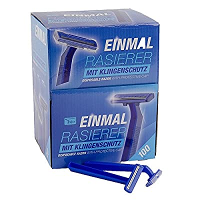 Teqler T-370650 Disposable Razors shave each hair length gently, safely and in a skin friendly manner, blue (100 per pack)