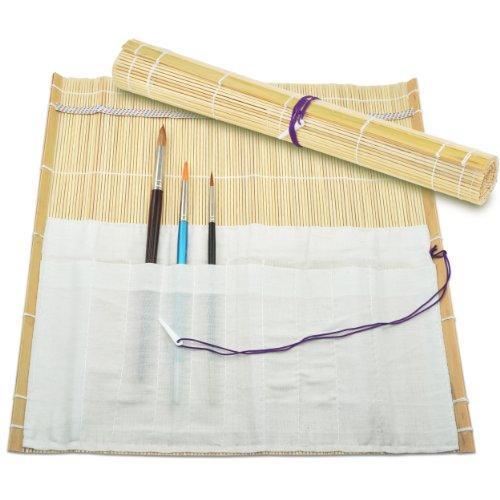 Bambú-pincel bolsa funda enrollable para Malta che | Con 10 compartimentos | 33 x 36 cm