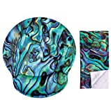 Green Abalone Seashell Ergonomic Design Mouse Pad with Wrist Rest Hand Support. Round Large Mousing Area. Matching Microfiber Cleaning Cloth for Glasses & Screens. Pretty Mouse Pad for Gaming & Work