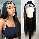 Headband Wigs Human Hair Straight Headband Wig Glueless None Lace Front Wigs Brazilian Virgin Hair Straight Human Hair Headband Wigs for Black Women 150% Density (Straight, 18 Inch)