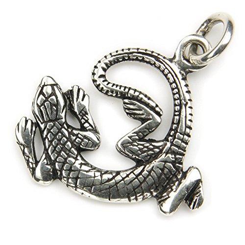 Gecko Schmuck 925 Silber Anhänger für Kette, Länge mit Öse: 33mm Silberschmuck