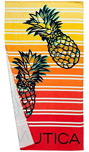 Nautica Adults Large Printed Absorbent Plush Velour 100% Cotton Beach Towel