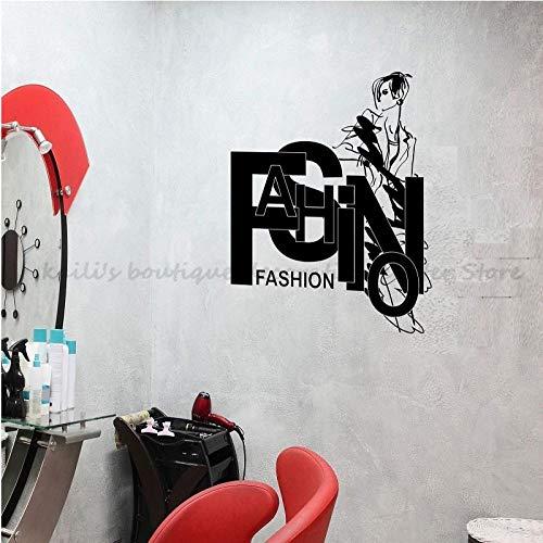 Muurstickers Decals Muurschildering Mode Stijl Mooie Vrouw Vinyl Beauty Salon Kapsalon Spa Salon Muur Kast Venster Art Deco Sticker 47×42 cm