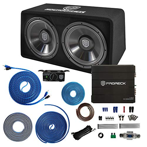 """PRORECK PR-122M 1500W Dual 12"""" Car Subwoofer Enclosure Audio with Subwoofer,Mono Block Amplifier and Wiring Installation Kit"""