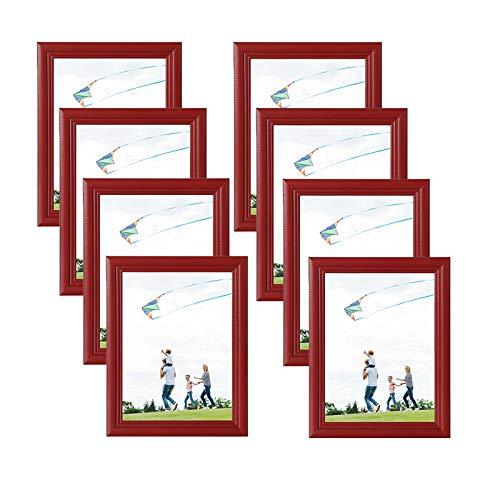 eSituro SPF0035-8 Bilderrahmen 8 Stück Fotorahmen Dekorahmen zum Aufhängen oder Aufstellen aus Massivholz Glasschiebe 10x15 bis 30x40cm Rot