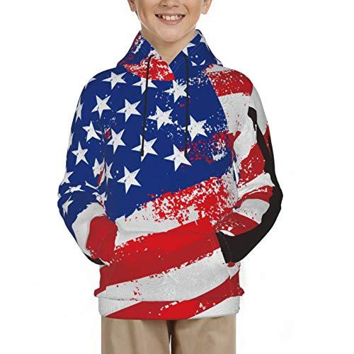 QUEMIN Sudadera con Capucha para niños, Sudadera con Capucha Negra, suéter Multicolor para Regalos, Bandera Estadounidense y Liberty S 7-8 años