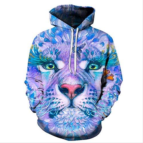 ZCMWY Kerstmis hoodie hooded sweatshirt 3D tijgerprint patroon herfst en winter hooded street nonchalante trui S-6Xl losse mannen/Wome sweatshirt