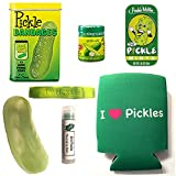 Deluxe Pickle Lovers Gift Pack (7pc Set) - Pickle Bandages, Lip Balm, Mints, Stress Pickle, Can Cooler Insulator, Wristband & Dill Pickle Salt