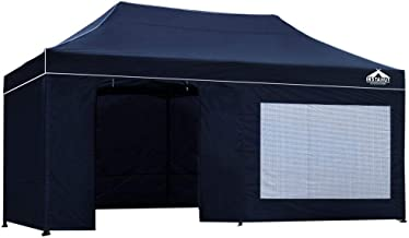 Instahut Pop Up Canopy 3x6m Portable Gazebo Tent with Sandbag Removable Sidewalls and Carry Bag-Navy