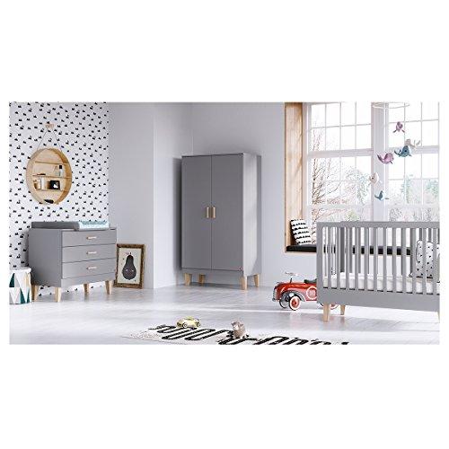 Chambre complète lit évolutif 70x140 - commode à langer - armoire 2 portes Lounge - Gris