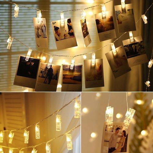 ATPWONZ ストリングライト LEDイルミネーション 40 LED写真クリップライト 電池式 4.2Mリモコン付き 8パタンで切替可能 クリスマス/新年/結婚式/誕生日/パーティー写真飾りなどに適用