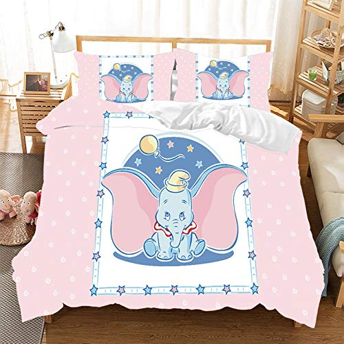 Duvet Cover Set – Dumbo Duvet Cover and Pillow Case, Cartoon Pattern, 3D Digital Print, Microfibre, Children's Bedding Pink, Blue, Single Bed (140 x 210 cm)
