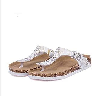 Ling-long Women's Casual Buckle T Strap Thong Strap Sandals Flip Flop Platform Footbed