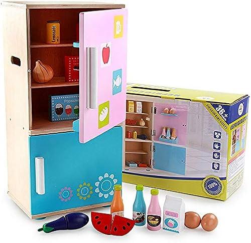 Uiophjkl DIY Haus Spielzeug Kühlschrank Cosplay Jungen und mädchen Spielen Set mit Gemüse Obst Eier DIY Holzspielzeug