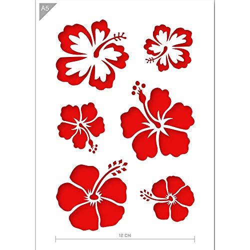QBIX Aloha Blumen Schablone - Blumen Schablone - Hawaii Blumen Schablone - A5 Größe - Wiederverwendbare Kinder freundlich DIY Schablone zum Malen, Backen, Basteln, Wand, Möbel