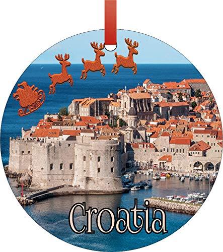 Weihnachtsmann Klaus und Schlitten reitet über antiken Stadtmauern, Dubrovnik, Kroatien, rund, flach, halbmatt, Aluminium, Weihnachtsbaum-Dekoration – Einzigartige, moderne Neuheit, Baum-Dekor