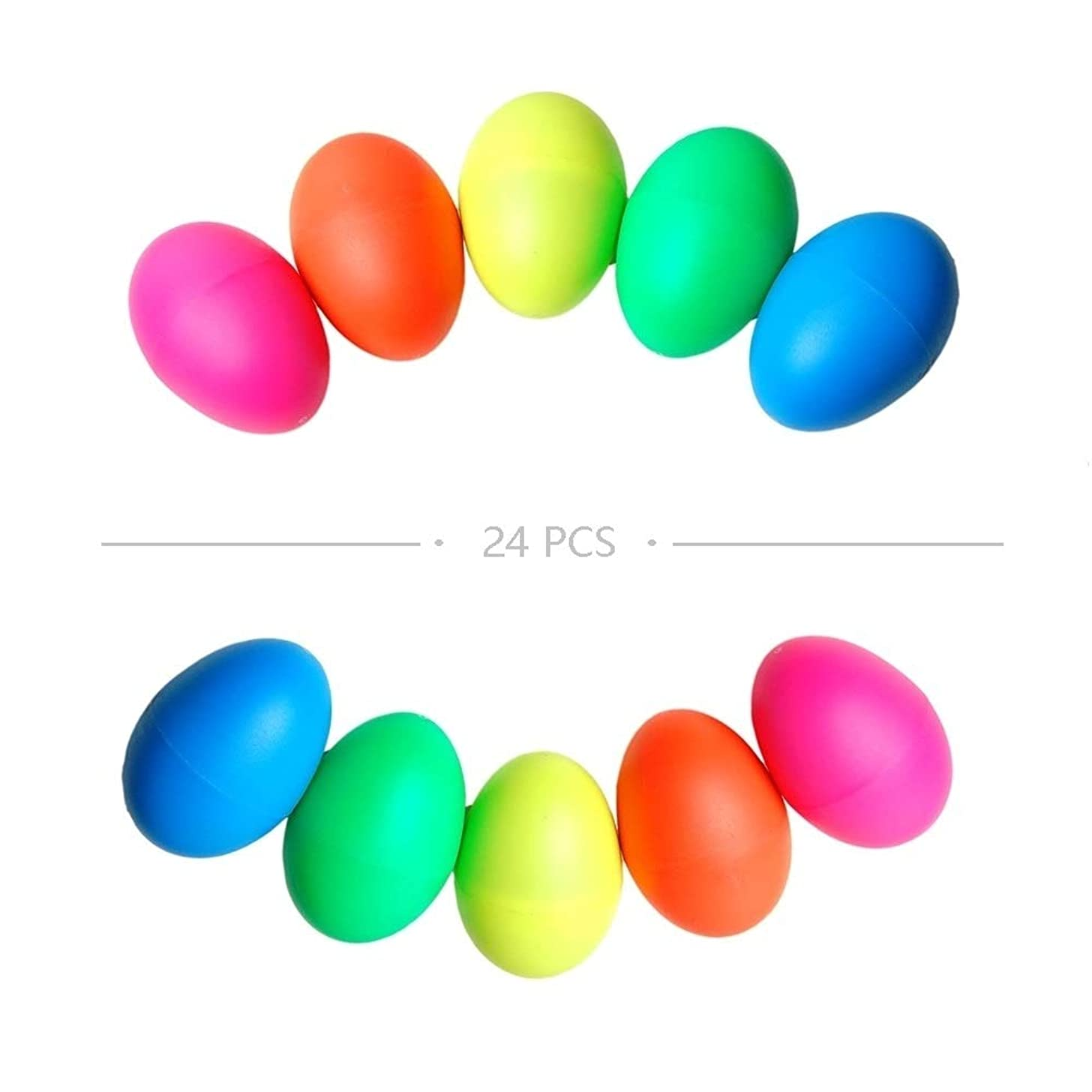 GOGO 24 Pcs Plastic Egg Shakers, Percussion Musical Egg Maracas Easter Egg Kids Toys with Mixed Colors for Child Toys Music Learning DIY Painting