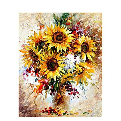 Pintura de bricolaje por números Girasol Imagen para colorear Base cero Pintura al óleo pintada a mano Decoración para el hogar-99186-50x65cm sin marco
