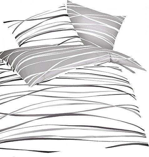Kaeppel Mako Satin Bettwäsche Essential Motion Größe 135x200+80x80 cm Farbe Schiefer