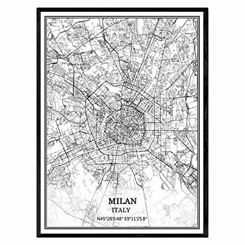Mailand Italien Karte Wandkunst Leinwand drucken Poster Artwork ungerahmt moderne Schwarz-Weiß-Karte Souvenir Geschenk Home Decor