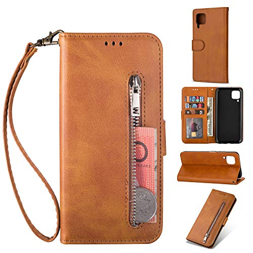 ZTOFERA Huawei P40 Lite Hülle, Magnetisch Folio Flip Wallet Leder Standfunktion Reißverschluss schutzhülle mit Trageschlaufe, Brieftasche Hülle für Huawei P40 Lite - Braun