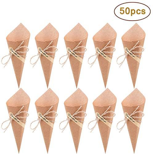 50 Piezas Conos Boda - Comius Bolso Boda para Confeti o Bolsa cucuruchos de Papel Kraft Cono de arroz, Cuerda de cáñamo, Cinta de Doble Cara, Etiqueta Adhesiva (Yellow)