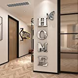 Doeean Home Sign Acrylic 3D Mirror Wall Decor Wall Decals Decorations Stickers for Bedroom or Living Room (Silver, 47.2 X 15.7)