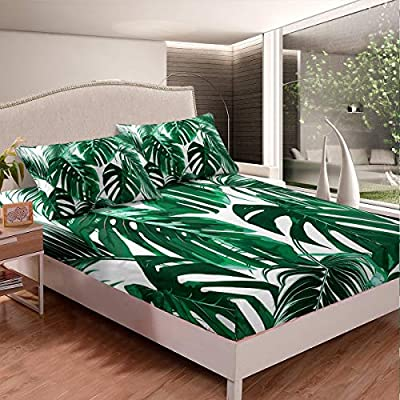 Feelyou Palm Leaf Fitted Sheet Botanical Plants Bed Sheet Set Kids Boys Adults Tropical Leaves Branches Bedding Set Luxury Lightweight Bed Cover,Room Decor 2Pcs Sheets Twin Size