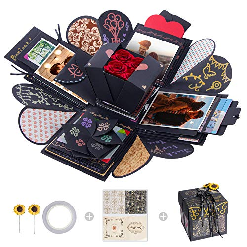 MOMSIV Creative Explosion Box,Love Memory DIY Photo Album Surprise Box Handmade Exploding Picture Box as Birthday Anniversary Wedding Christmas Gift (Black)