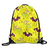 JHUIK Drawstring Bag Backpack,Mardi Gras Cartoon Boys Mochila con cordón Mochila de Cuerdas Sport