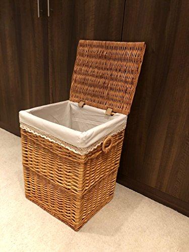 Light Brown Stylish Shabby Chic Rattan Wicker Laundry Baskets Storage Bedroom (Medium)