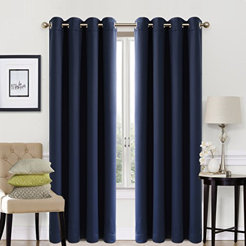 EASELAND 99% Blackout Curtains 2 Panels Set Room Darkening Drapes Thermal Insulated Solid Grommets Window Treatment Pair for Bedroom, Nursery, Living Room,W52xL84 inch,Navy