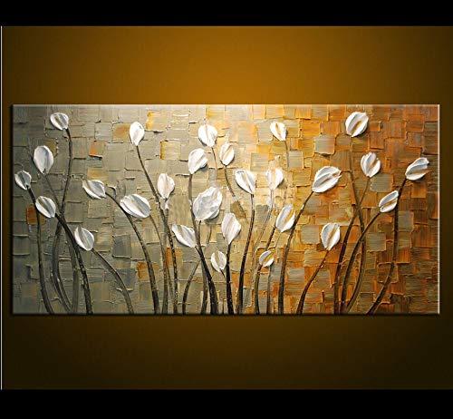 N / A Rahmenlose Malerei Hochwertige Moderne abstrakte Ölgemälde Wandmalerei auf Leinwand mit weißen Blumen in Raumdekoration42X56cm