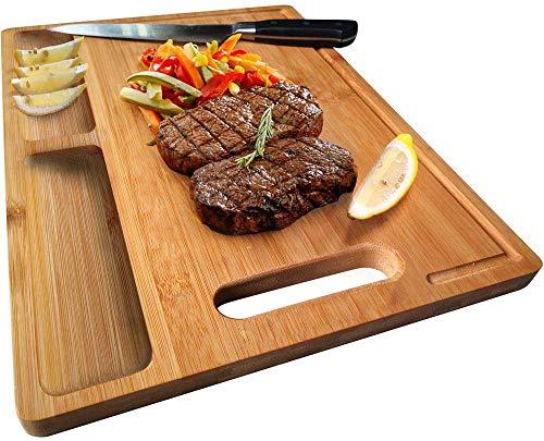NIUXX Schneidebrett Premium Schneidebretter Bambus Bio antiseptisches Hackbrett 30x21x1.5cm Brotbretter mit Saftrille Langlebig Küchen-bretter Servierbretter mit Griff