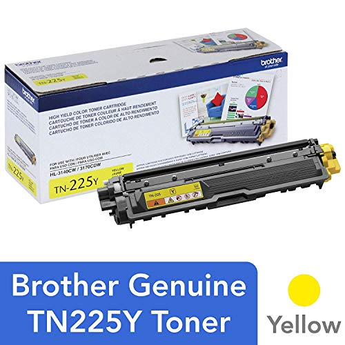 Brother Genuine High Yield Toner Cartridge, TN225Y, Replacement Yellow Toner, Page Yield Up To 2,200 Pages, Amazon Dash Replenishment Cartridge, TN225