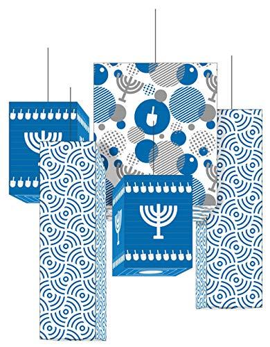 Zion Judaica Hanukkah Square Lantern Decoration Ceiling Mount 5 Set