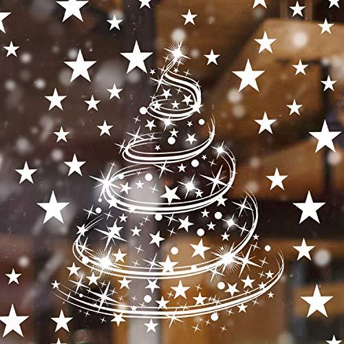 Adesivi Natalizi per Finestre del Fiocco di Neve di Natale Aggrapparsi Adesivi Stelle di Natale Decorazioni per Forniture per Decorazioni Natalizie, 8 Fogli (Stile Set 1)