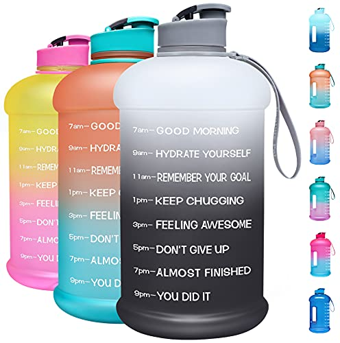 Venture Pal Large 128oz Leakproof BPA Free Fitness Sports Water Bottle with Motivational Time Marker to Ensure You Drink Enough Water Throughout The Day-1 Gallon-White/Gray Gradient