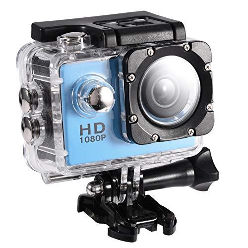 Motorhelm camera, 480P, 12000000 JPEG, 30M / 98.4 waterdichte kwaliteit, 90 ° camerahoek, Onderwatercamera met 900mah-batterij voor fietsen of onderwateropnames(blauw)